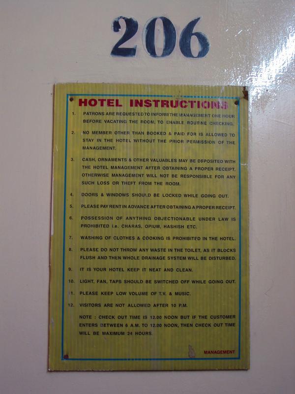 Hotel-Hausordnung in Delhi :-)