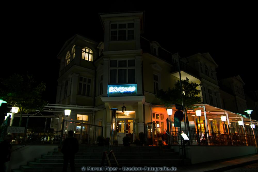 Hotel zur Post Bansin bei Nacht