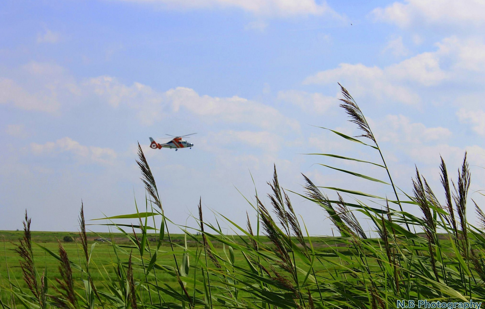 Hubschrauber auf der Insel Spiekerorg