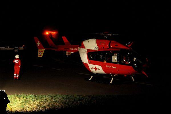 Hubschrauber bei Nachteinsatz in Todtnau