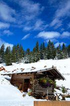 Hütte auf einer Alm