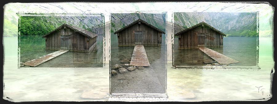 Hütte im See - ein Tryptichon