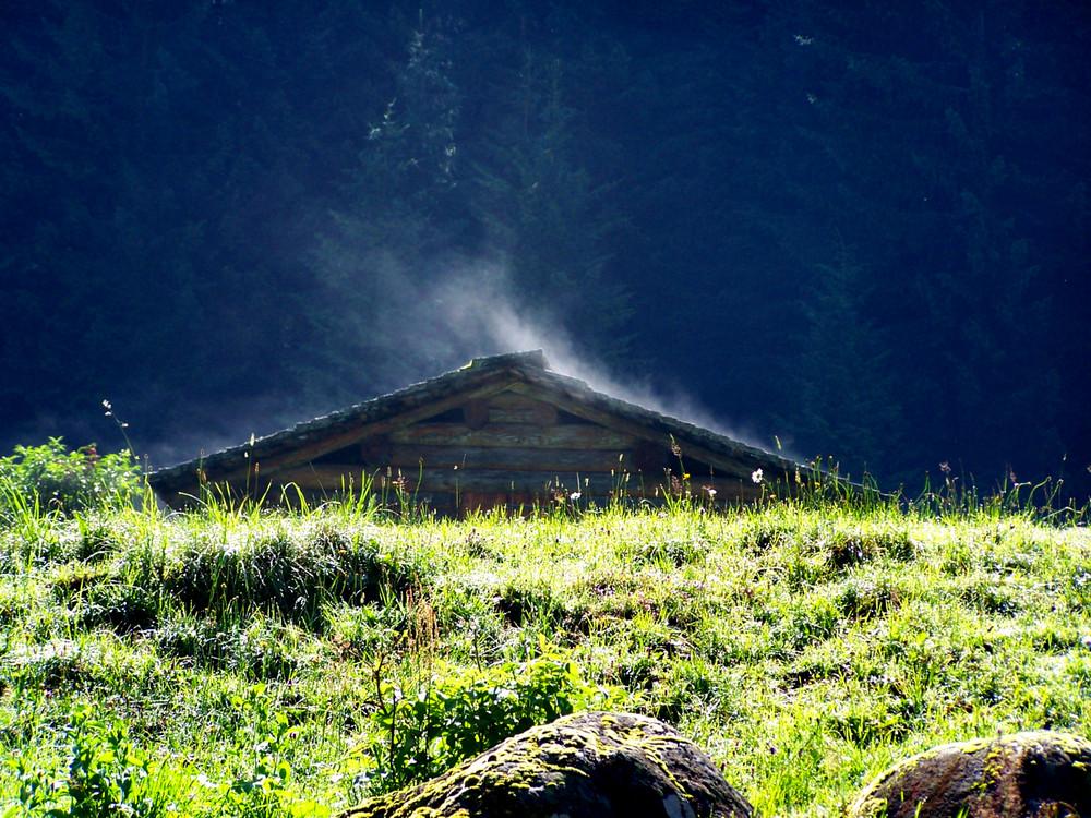 Hütte unter Dampf