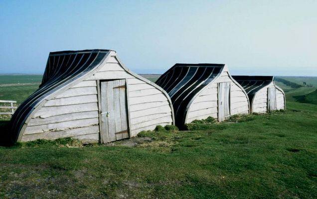 Hütten auf Lindisfarne