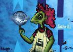Hugo malt eine schrille Graffitty