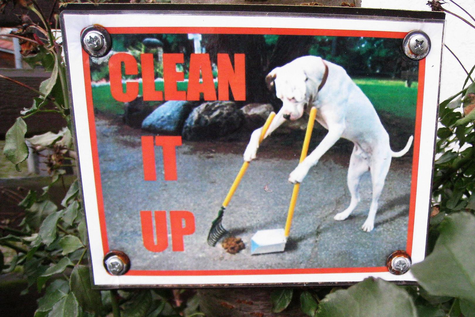 Hund macht seinen Dreck selbst weg