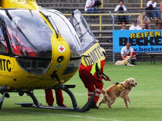 Hundeführer mit Rettungshund beim Ausstieg aus dem Hubschrauber