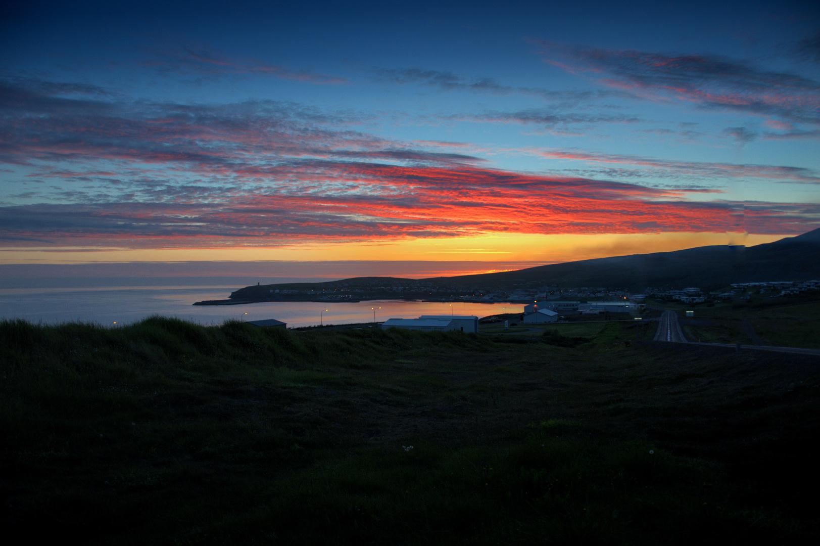 Húsavík in july at 2:00 AM