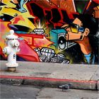 Hydrant mit Taube an Graffiti