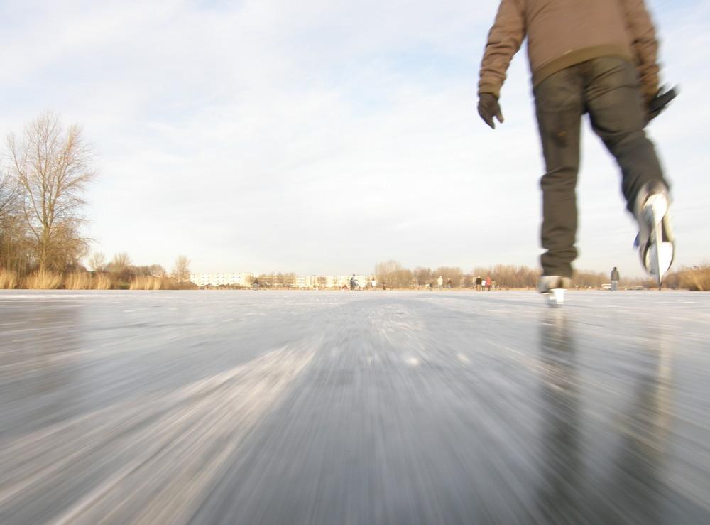 Ice skating on natural lake