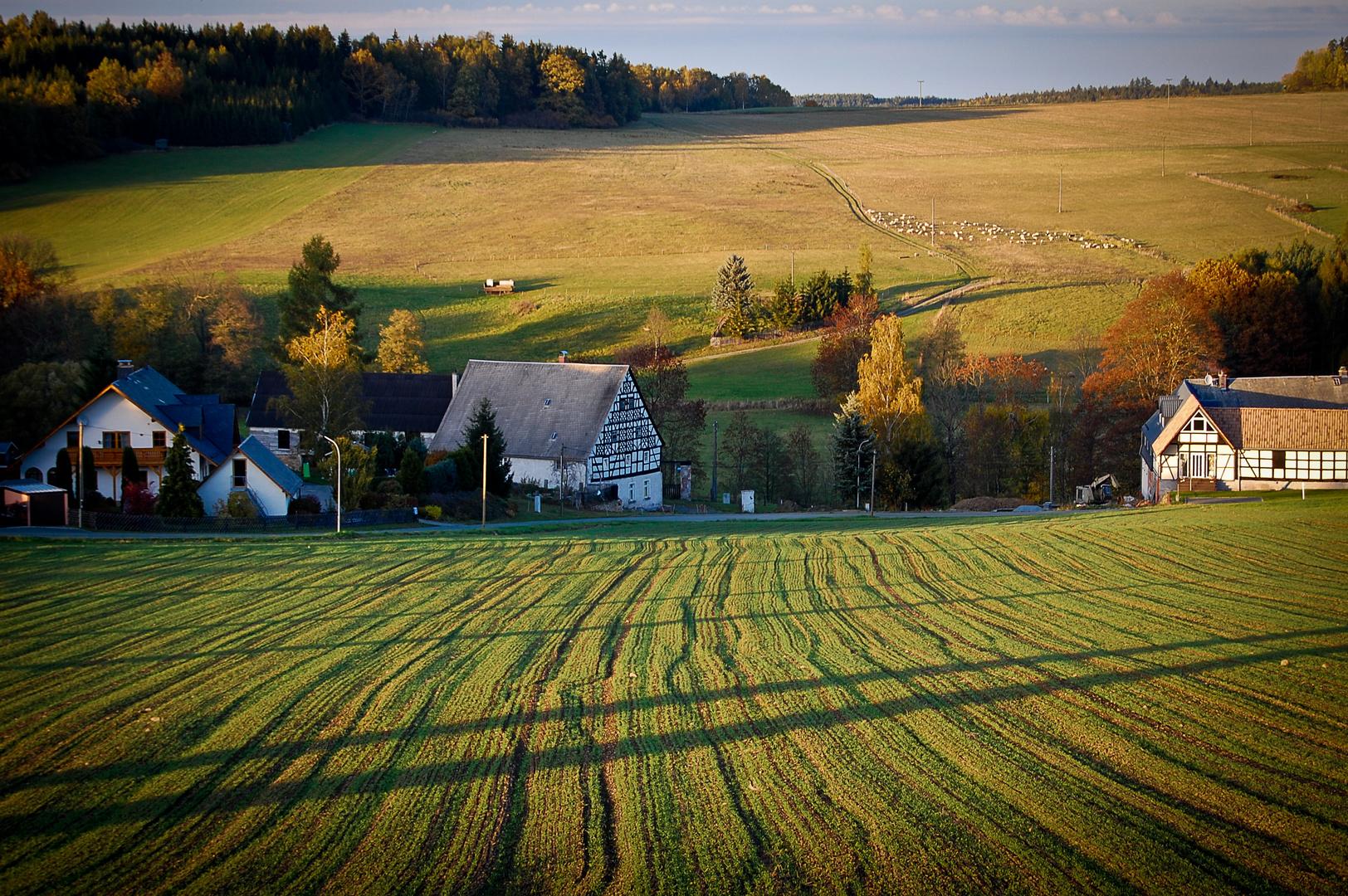 idyllischer Dorfblick auf Weckersdorf in Ostthüringen