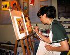 Ikonen Malerin:Vicky Lecatou in Manolates /Bergdorf auf SAMOS