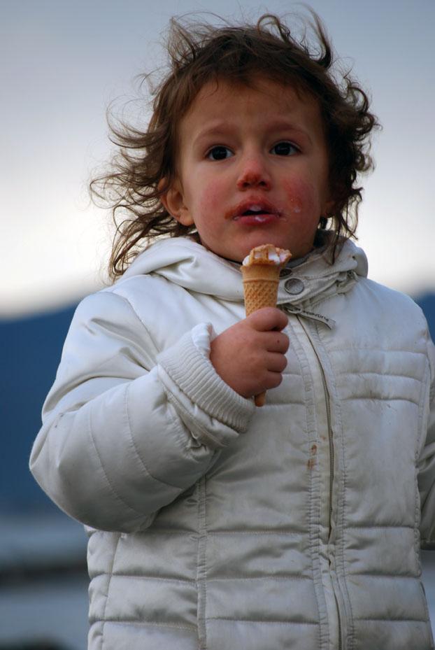 Il gelato in faccia.... colpa del vento!!!!!
