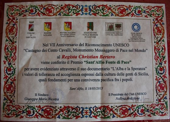 Il mio Premio UNESCO che condivido con tutta la squadra