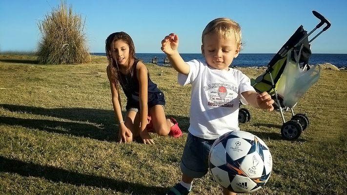 Il mio primo allenamento al calcio.