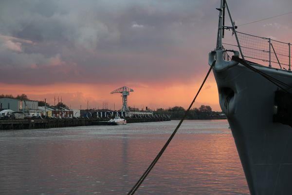 Iles de Nantes au soleil couchant
