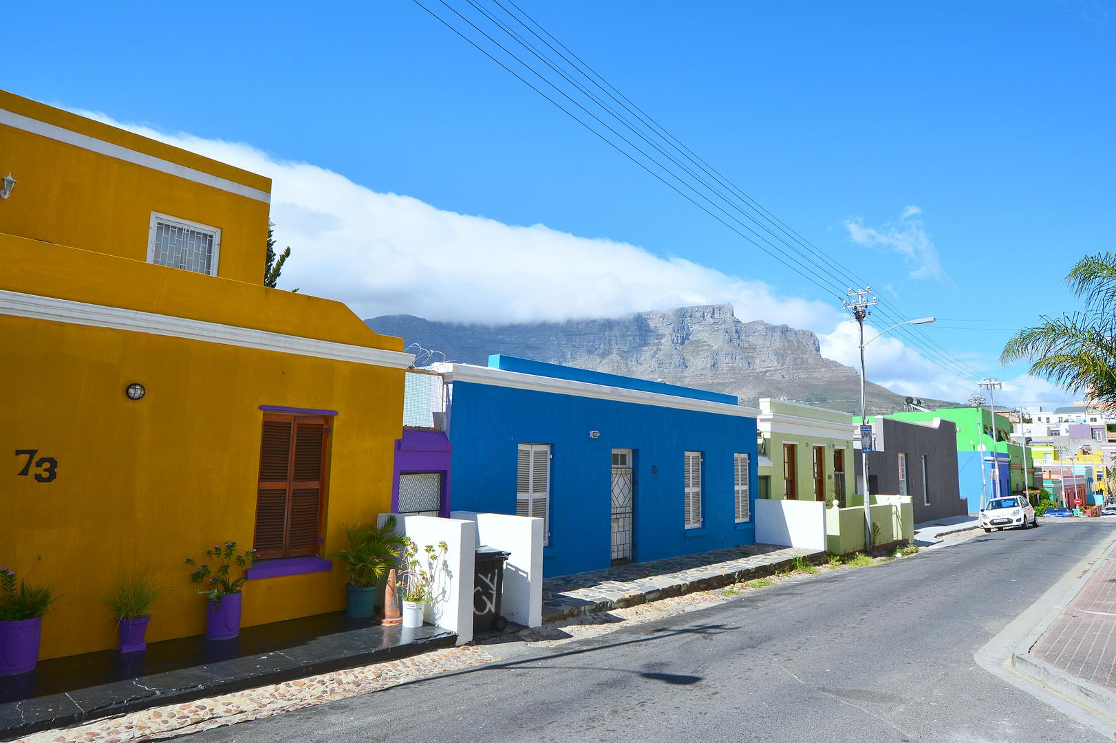 im Bo Kaap mit Sicht auf den Tafelberg