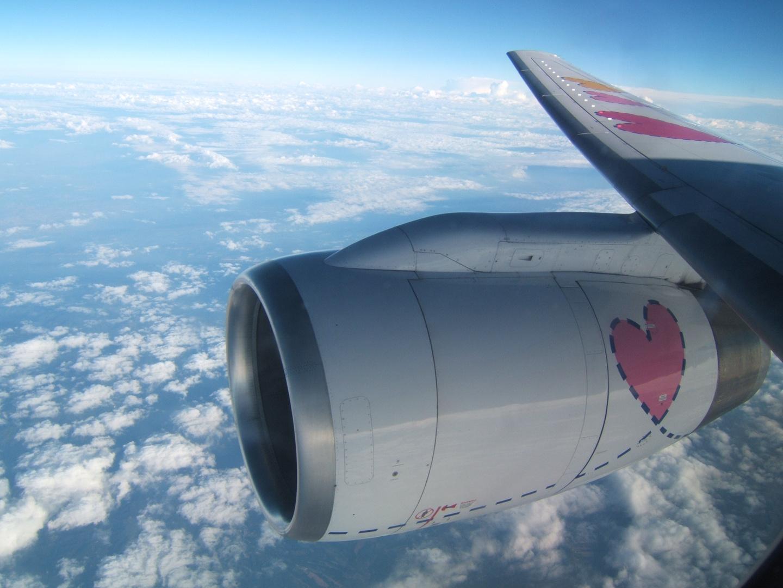 Im Flugzeug nach Malorca