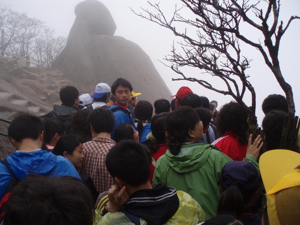 Im Huangshan, wenn das Wolkenmeer zu hoch hängt