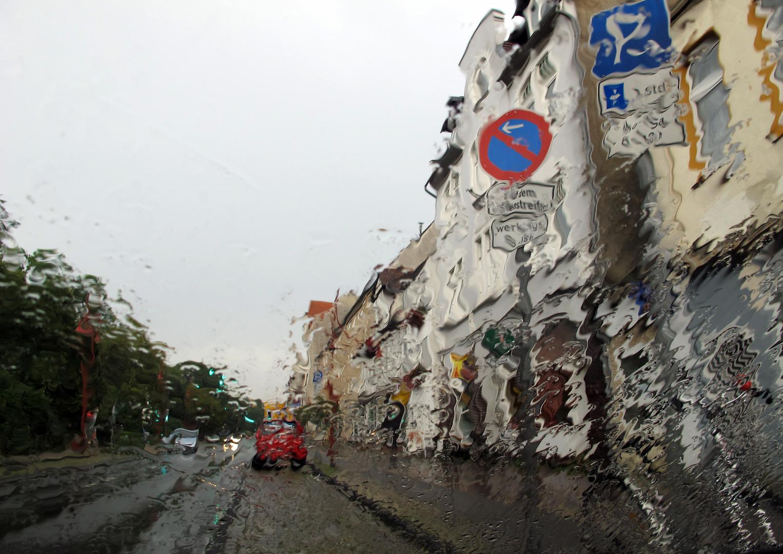 Im Regen...