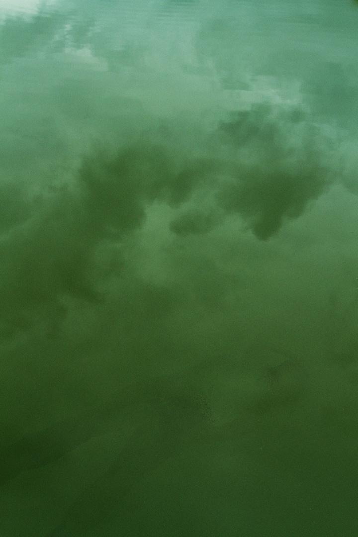 Im Teich spiegeln sich die Wolken