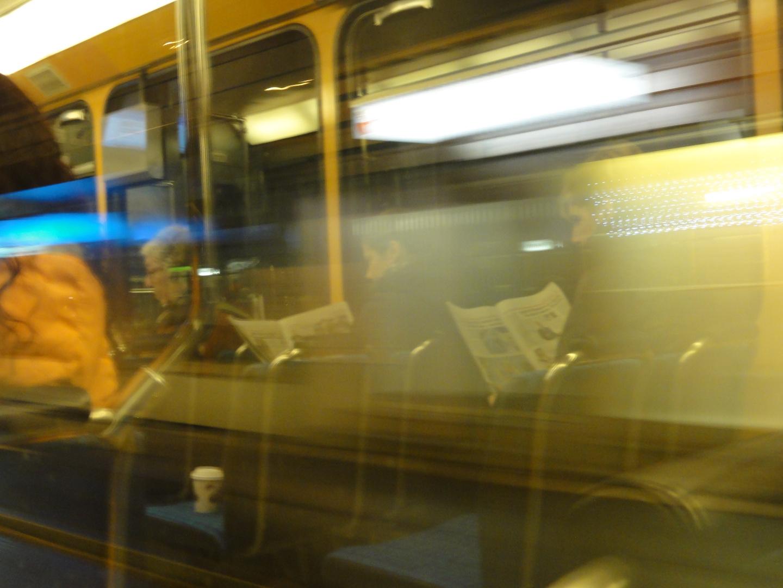 im Tram zur Arbeit
