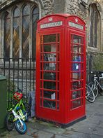 Impression de Cambridge  --  Cabine téléphonique près de l'Eglise St-Clément , Bridge Street