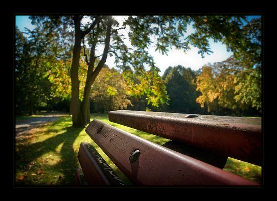 Impression von einer gemütlichen Rast auf einer Parkbank im Herbst *hach*