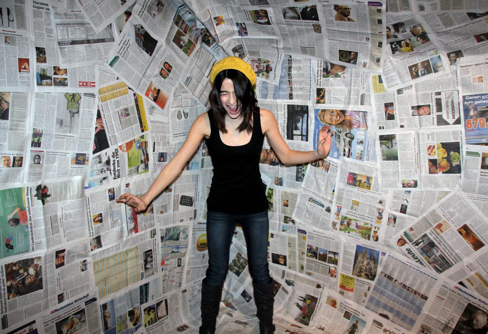 in den Zeitungen gefangen