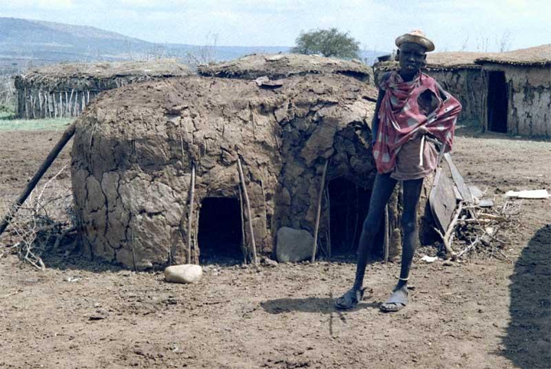 In einem Masai-Dorf