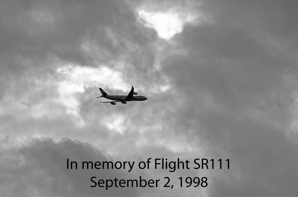 in Erinnerung an die Opfer vom Flug SR111