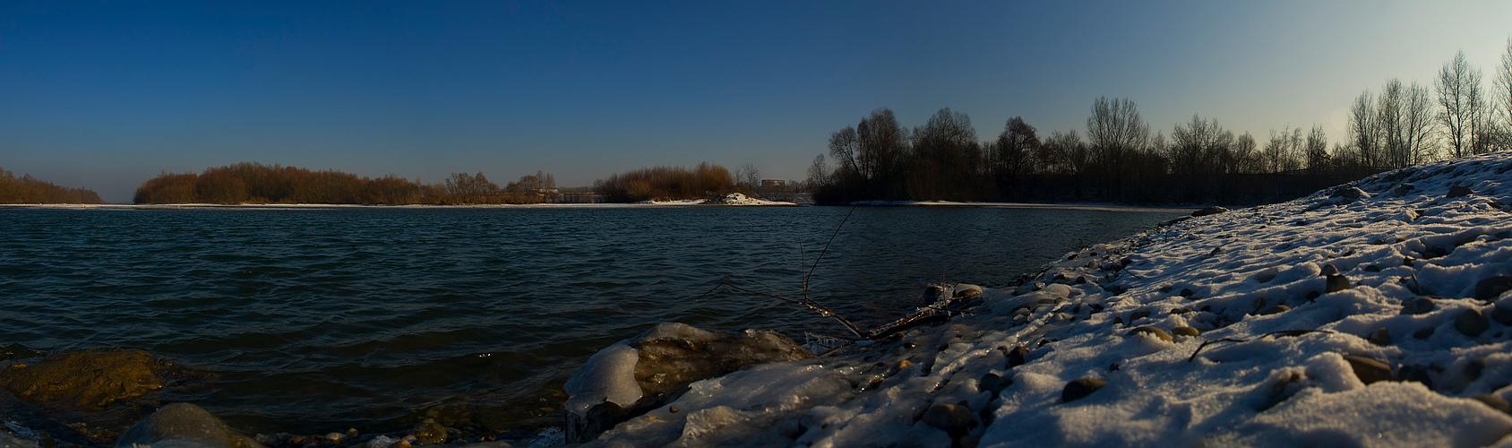 in Gambsheim am Rhein mit eisigem Nordwind