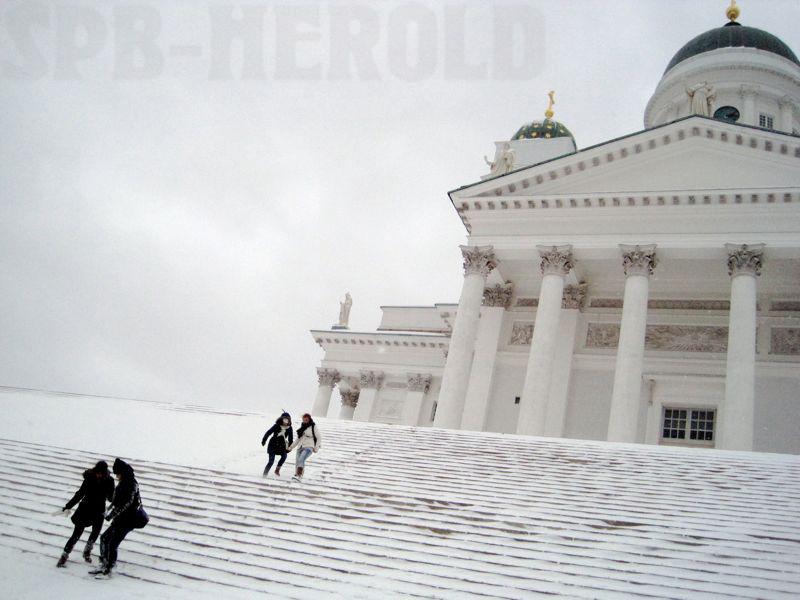 In Helsinki vom Schnee überrascht