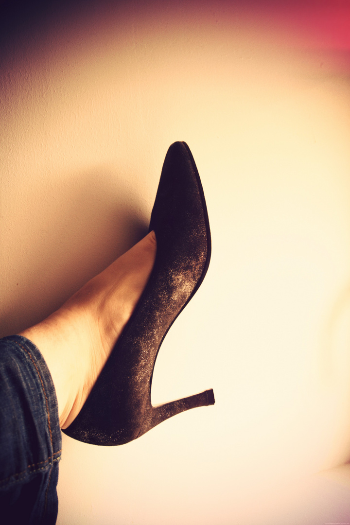 In her shoe