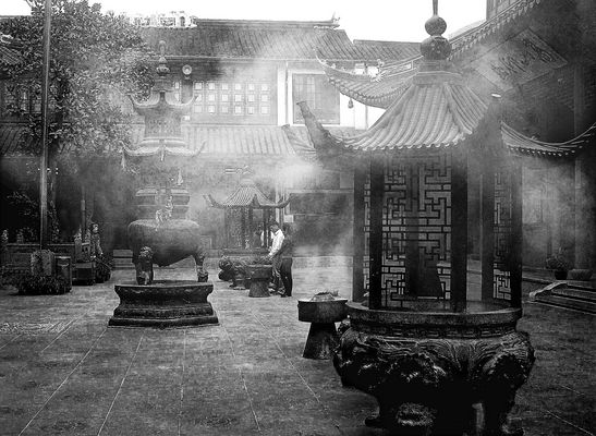 in the temple yard