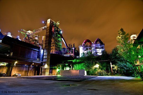Industrie und Landschaftpark Duisburg bei Nacht