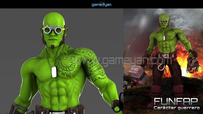 INIFAP warrior character 3d modeling