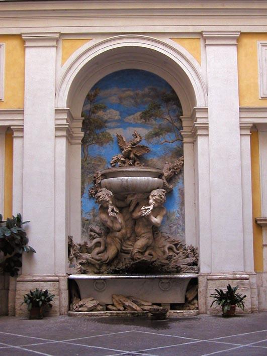 Innenhof mit Brunnen in Rom