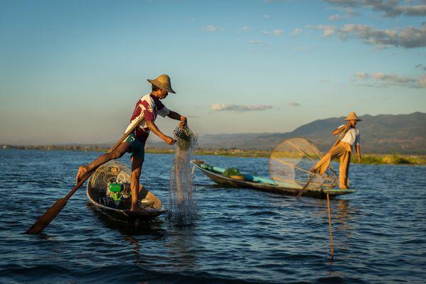 Intha-Fischer auf dem Inle Lake