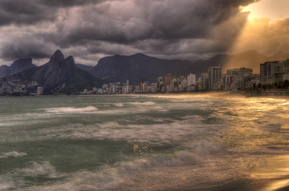 Ipanema and Montains in Rio de Janeiro