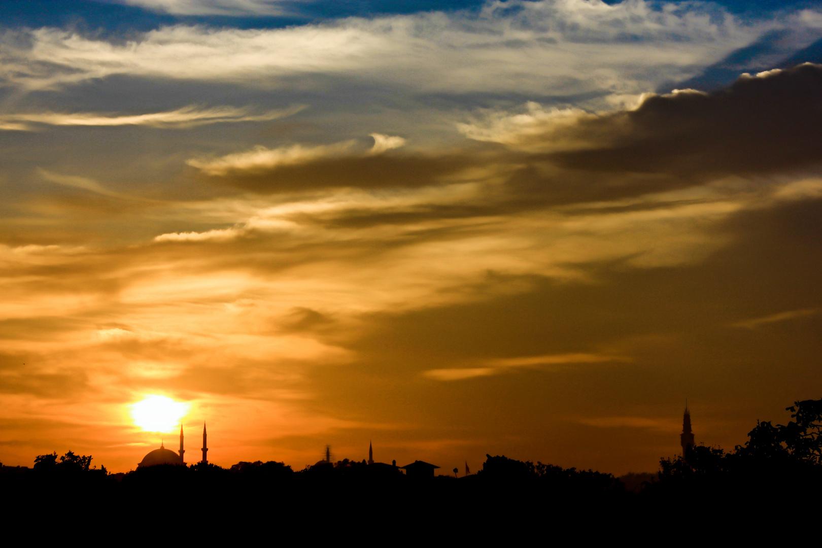 Istanbul am Abend vom Topkapi Palace