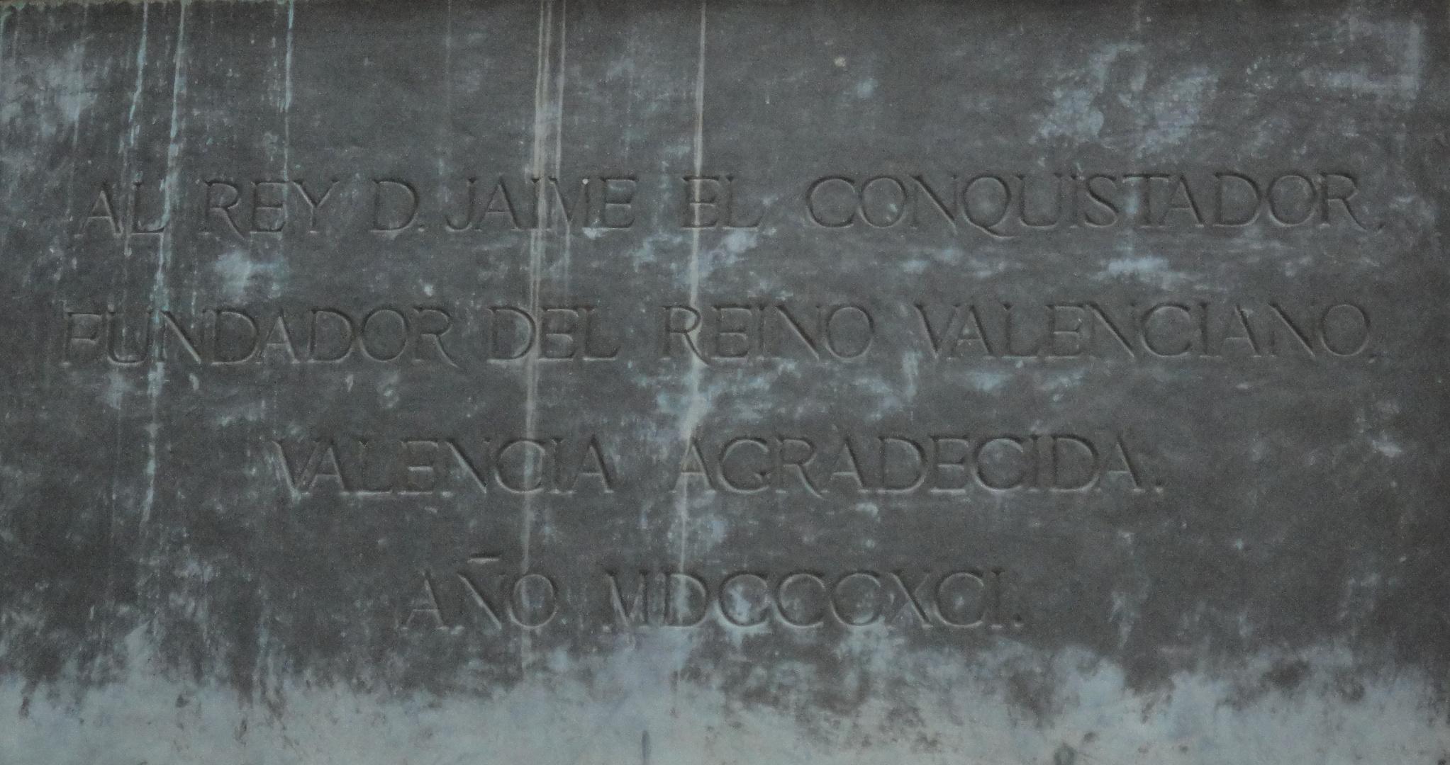 Jaime I El Conquistador Placa bajo estatua