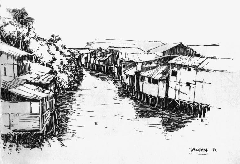 Jakarta (Indonesien) Armensiedlung am Fluss