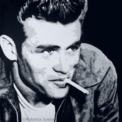 James Dean - bianco, nero e grigio