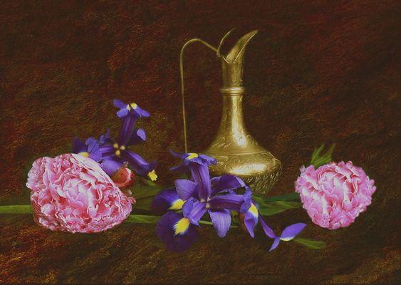 Jarra antigua con   flores