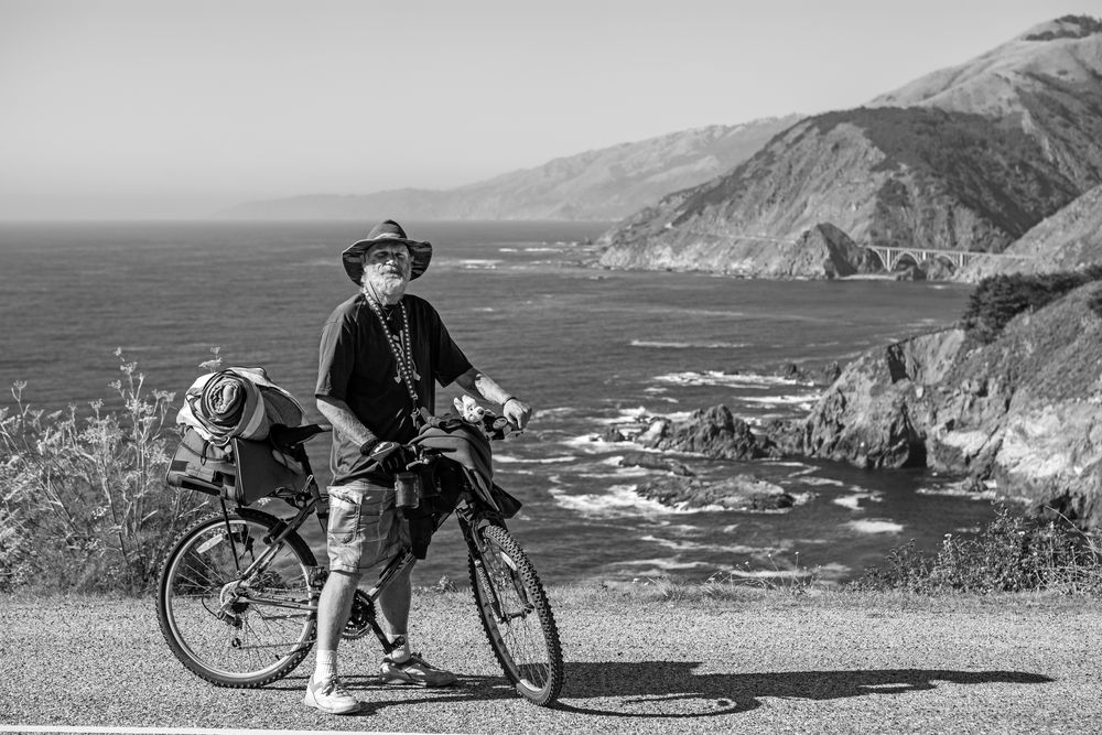 """ jeff, with bicycle "" hurricane point, el cabrillo hwy, california"