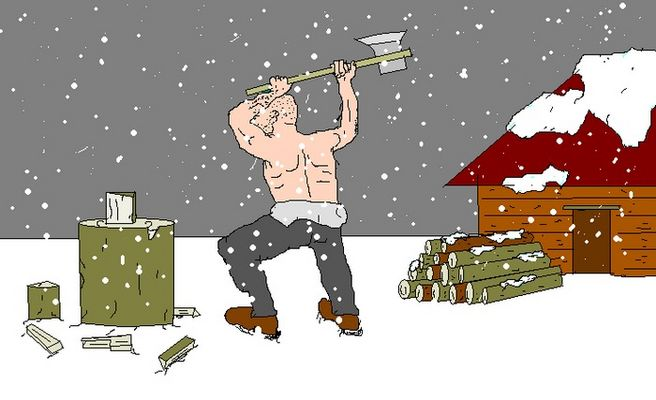 Jemand hackt Holz bei Schneefall