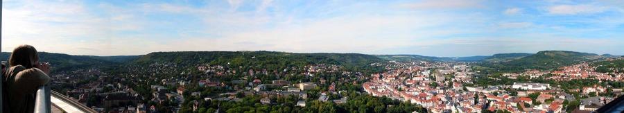 Jena, von der Spitze des Intershopturmes gesehen