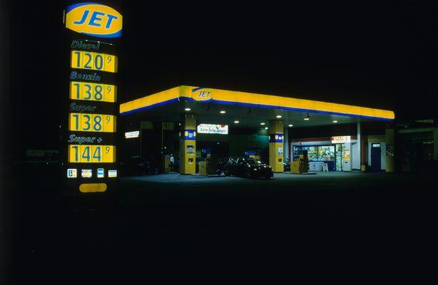 JET Gas Station at Night