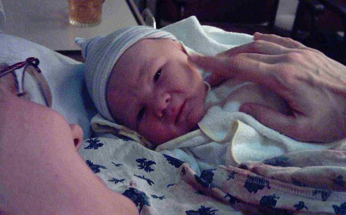 Jorrit, 1 Minute nach der Geburt.
